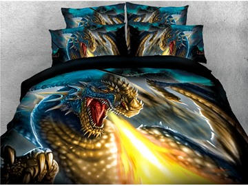 Dragon Spurts Golden Fire Printed 4-Piece 3D Bedding Sets/Duvet Covers