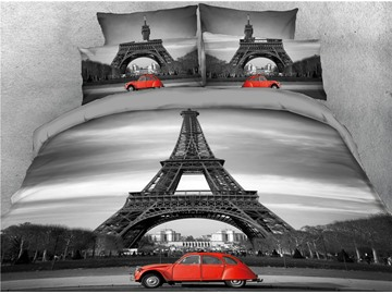 Eiffel Tower and Red Car Printed Black 4-Piece 3D Bedding Sets/Duvet Covers