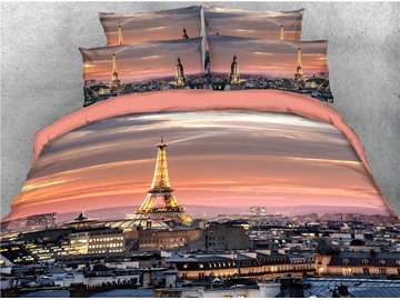 Eiffel Tower and Surrounding Buildings Printed 4-Piece 3D Bedding Sets/Duvet Covers