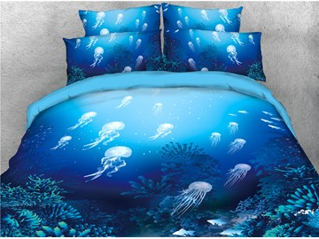 Ocean Jellyfish Blue Sea Theme Printed 4-Piece 3D Bedding Sets/Duvet Covers