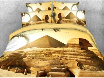 Pyramids and Sphinx Printed 4-Piece 3D Bedding Sets/Duvet Covers