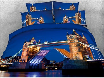 Tower Bridge and Night Scene Printed 4-Piece 3D Blue Bedding Sets/Duvet Covers