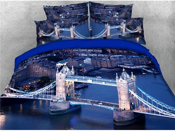 London Bridge Towers Night View Printed 4-Piece 3D Bedding Sets/Duvet Covers