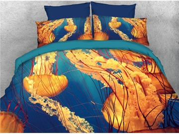 Yellow Jellyfish Ocean Theme Printed 4-Piece 3D Bedding Sets/Duvet Covers