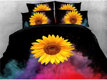 Gorgeous Sunflower and Smoke Printed 4-Piece Bedding Sets/Duvet Covers