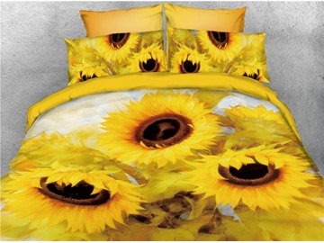 Vigorous Sunflower Printed 3D Yellow 4-Piece Bedding Sets/Duvet Covers
