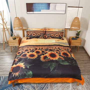 Sunflower and Sunset 3D Yellow Bedding Set 4Pcs Duvet Cover with Zipper Closure Polyester
