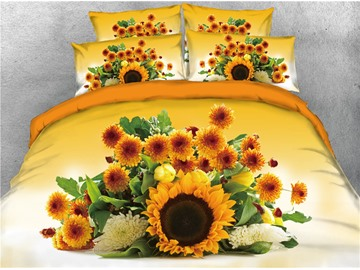 A Bunch of Sunflowers Printed 4-Piece Bedding Sets/Duvet Covers