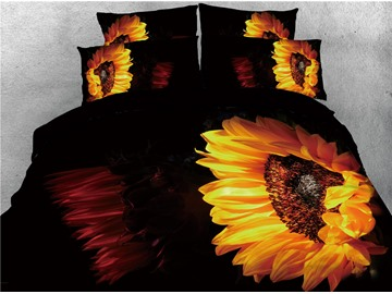 Sunflower Printed Yellow and Black 3D 4-Piece Bedding Sets/Duvet Covers