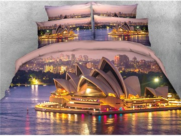 Sydney Opera House & Lights Printed Night View 4-Piece 3D Bedding Sets/Duvet Covers