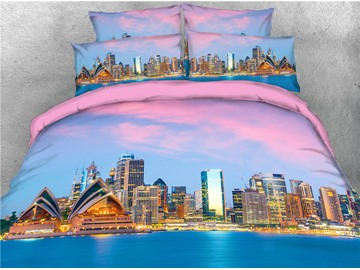 Opera House and High-rise Buildings Printed 4-Piece 3D Bedding Sets/Duvet Covers
