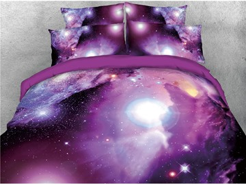 Charming Purple Galaxy Blinking Stars Printed 3D 4-Piece Bedding Sets/Duvet Covers