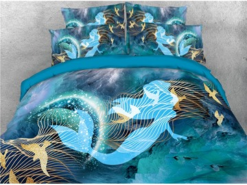 Blue Mermaid and Birds Printed 4-Piece 3D Bedding Sets/Duvet Covers