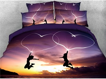 Jumping Lovers and Heart Shape Printed 3D Purple 4-Piece Bedding Sets/Duvet Covers