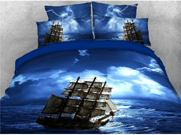 Pirate Ship Sailing and Blue Sea Printed 4-Piece 3D Bedding Sets/Duvet Covers