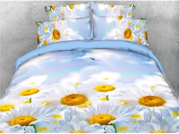 White Daisy Flower Field Printed 4-Piece 3D Natural Bedding Sets/Duvet Covers