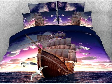 Sailing Ship and Seagull Printed 4-Piece 3D Sea Bedding Sets/Duvet Covers