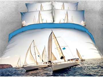 Sailing Boats & Sea Exploration Printed 4-Piece 3D Bedding Sets/Duvet Covers