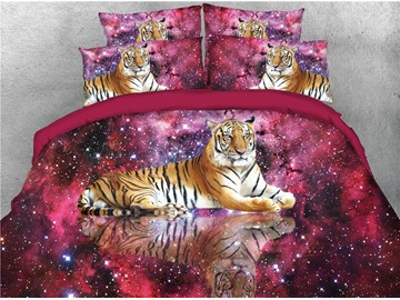 Tiger and Red Starry Galaxy Printed 4-Piece 3D Bedding Sets/Duvet Covers