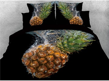 Pineapple and Water Printed Black 4-Piece 3D Bedding Sets/Duvet Covers