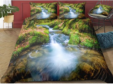 Green Mountain and Stream Water Printed 3-Piece 3D Bedding Sets/ Duvet Covers