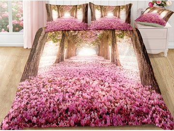 Pink Flower Path and Tree Printed Polyester 3-Piece 3D Bedding Sets/ Duvet Covers