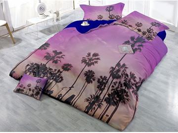 Tree Shadow Purple Printed Cotton 4-Piece 3D Bedding Sets/Duvet Covers