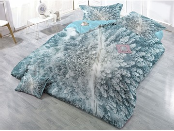 Snow-covered Trees White Printed Cotton 4-Piece 3D Bedding Sets/Duvet Covers