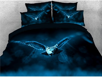 Night Flying Owl Printed 4-Piece 3D Bedding Sets/Duvet Covers