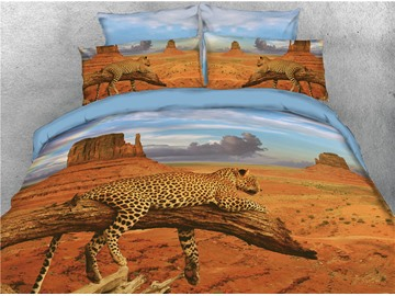 Leopard Lying on the Tree Printed 4-Piece 3D Bedding Sets/Duvet Covers