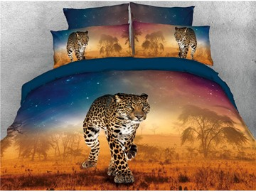 Walking Leopard and Galaxy Printed 4-Piece 3D Bedding Sets/Duvet Covers