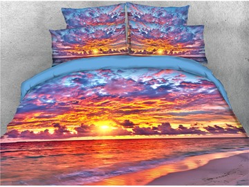Sky Clouds and Sunset Sea Printed 4-Piece 3D Bedding Sets/Duvet Covers