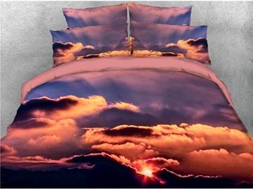 Sunset Sky Cloud Printed 4-Piece 3D Bedding Sets/Duvet Covers