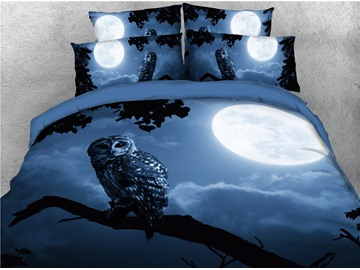 Night Owl and Bright Moon Printed 4-Piece 3D Bedding Sets/Duvet Covers