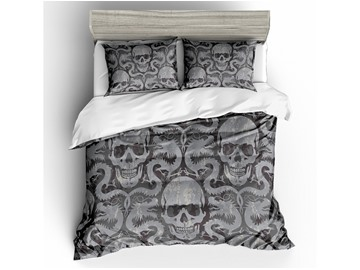 Skull and Dragons Printed Grey 3-Piece 3D Bedding Sets/ Duvet Covers