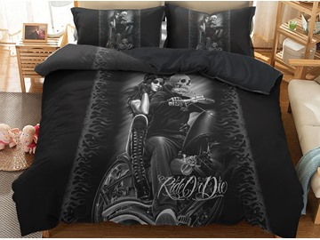 Skull and Beauty Riding Motorcycle Biker Printed 3-Piece 3D Bedding Sets/ Duvet Covers