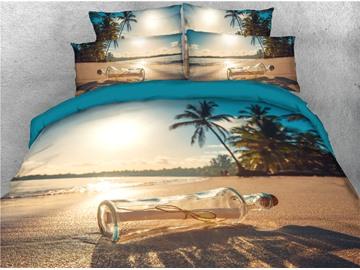 Beach Sunlight and Drift Bottle Printed 4-Piece 3D Bedding Sets/Duvet Covers