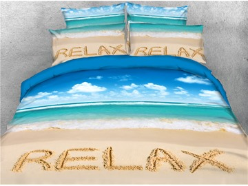Blue Seaside and Beach Relax Printed 4-Piece 3D Bedding Sets/Duvet Covers