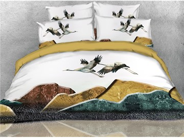 Flying Cranes Printed 4-Piece 3D Bedding Sets/Duvet Covers