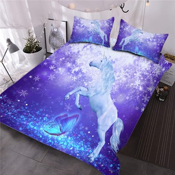 Unicorn and Butterfly Printed 3D Purple 3-Piece Comforter Sets