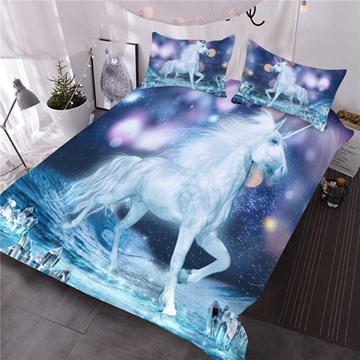 Unicorn and Sparkling Lights Printed 3-Piece 3D Comforter Sets