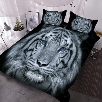 Tiger with Blue Eyes Printed 3-Piece Animal 3D Comforter Sets