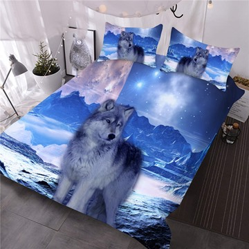 Mountain Wolf 3D Printed 3-Piece Comforter Sets
