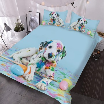 Colorful Dalmatian Dog 3D Printed 3-Piece Comforter Sets