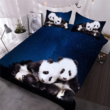 Panda and Blue Galaxy Printed 3-Piece 3D Comforter Sets