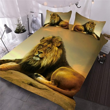 Lion Relaxing on Rock African Safari 3D 3-Piece Comforter Sets
