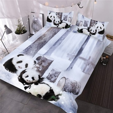 Panda Cub in Snow Printed 3-Piece 3D Comforter Sets
