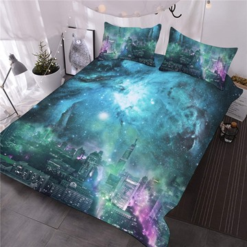 City Skyline under Green Galaxy 3D Printed 3-Piece Comforter Sets