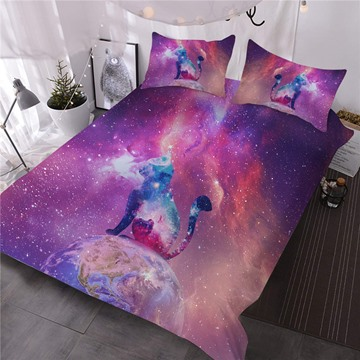 Colorful Galaxy Cat 3D Printed Red 3-Piece Comforter Sets