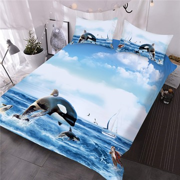 Orcinus Orca Printed 3-Piece 3D Comforter Sets